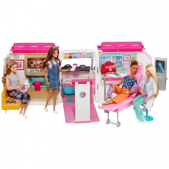 Barbie - Ambulancia Hospital 2 en 1, Accesorios Muñeca