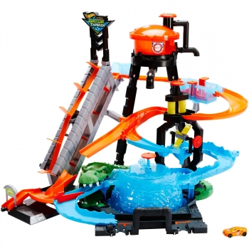 Hot Wheels - Cocodrilo Destructor, Pista de Coches de Juguete