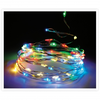 Guirnalda 20 Microled Luces Multicolor Cable Plata 10Cm