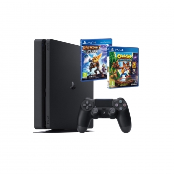 Consola PS4 Slim de 1 TB + Crash Bandicoot N. Sane Trilogy + Ratchet & Clank. Negro