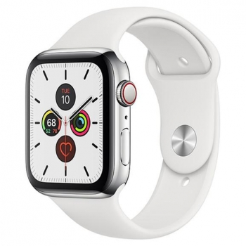Apple Watch Series 5 GPS + Cellular 40mm de Acero en Plata y Correa Deportiva Blanca