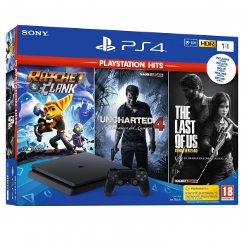 PS4 1TB con Ratchet y Clank + Uncharted 4 + The Last of Us