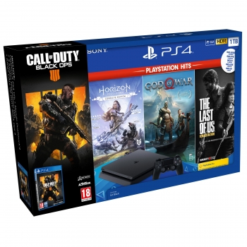 PS4 1TB con Hits Horizon Horizon Zero Dawn, God of War, The Last of Us Remastered y Call of Duty: Black Ops 4