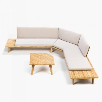 Muebles de jard n conjuntos madera - Banco jardin carrefour ...