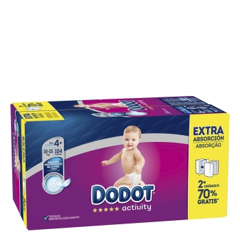 Pack Activity Extra DODOT Talla 4 10-15Kg 104uds