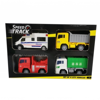 Speed Track - Pack 4 Vehículos 16 cm