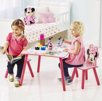 Mesa Y Silla de Madera MINNIE MOUSE  63 X 45 cm - Multicolor
