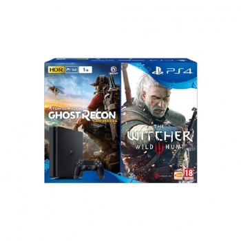 Play Station 4 1TB con Ghost Recon Wildlands y The Witcher III. Negro
