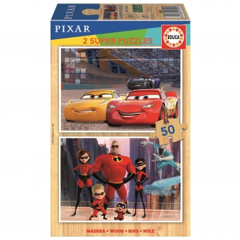 Puzzle Educa Disney Pixar ( Cars + The Incredibles) 2X50 Piezas