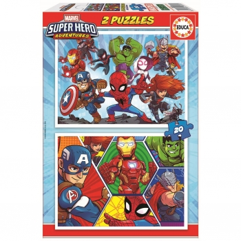Puzzle Educa Marvel Super Heroe Adventures 2X20 Piezas