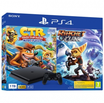 PS4 Slim 1TB + Crash Team Racing + Ratchet & Clank