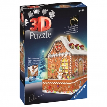 Ravensburger Puzzle 3D - Ginger Bread House Night Edition