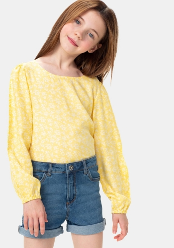 Blusa manga larga estampada sostenible de Niña TEX