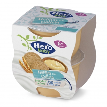 Pack Dos Tarrinas Merienda Hero Baby Natillas con Galletas