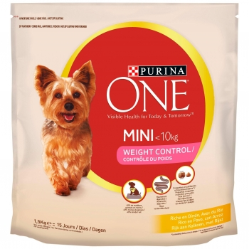 Purina ONE MINI Perro Weight Control Pienso para Perro Adulto Pavo y Arroz 1,5kg