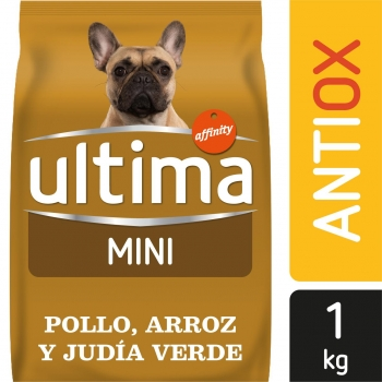 Pienso de pollo y arroz para perro adulto Mini Ultima antioxidante Ultima 1 Kg.