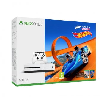 Xbox One S 500GB con Forza Horizon 3 + Hot Wheels. Blanco