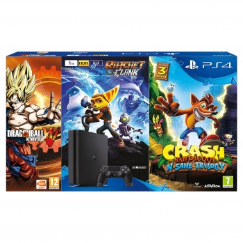 PS4 1TB con Crash Bandicoot y Ratchet y Dragon Ball Xenoverse - Negro