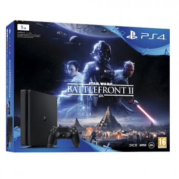 Consola PS4 1TB con Star Wars Battlefront II. Negro