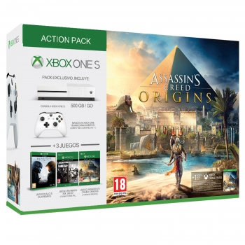 Consola Xbox One 500 Gb con Halo 5 guardians + Rainbow Six Siege + Asassins Creed Origins. Blanco
