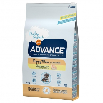 Advance Pienso Puppy para Perros Cachorros Mini Sabor Pollo y Arroz 7,5 Kg.