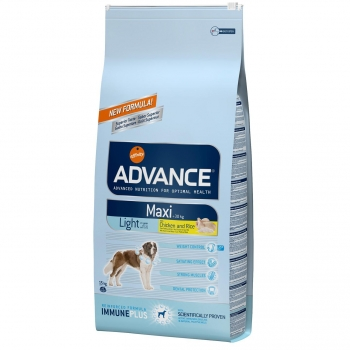 Advance Pienso Maxi Light para Perros Adultos Grandes  Sabor Pollo y Arroz  15 Kg.