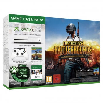 Xbox One S 1TB Game Pass Pack con Pubg y GamePass - Blanco