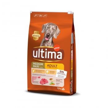Pienso de buey para perro adulto Medium Maxi Ultima Nature 7,5 Kg.