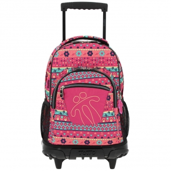 eca48e93e Trolley Ecole Wheel Backpack Renglones Flores Rosa