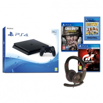 PS4 Slim 500GB con Call Of Duty WWII + Gran Turismo Sport + Headset Gioteck