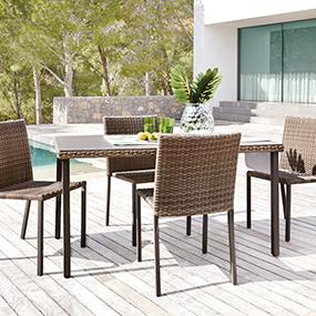 mesa sillas jardin carrefour fibra sintetica