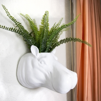 Escultura / Percha O Tiesto De Pared Cabeza Animal  - Hipopotamo Color Blanco - Medidas: 26 X 26 X 20