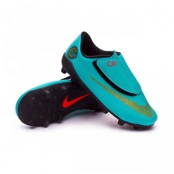 068578e521065 Botas Futbol Nike Cr7 Jr. Vapor 12 Club Suela Mg Verde dorado Niño.