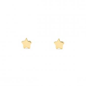 9d593430885b Pendientes Bebe O Niña Oro Estrella Lisa En Brillo