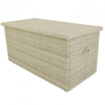 Baúl Para Exterior | Tamaño: 132x68x62 Cm | Aluminio Y Rattán Sintético Color Blanco Natural | Almacenamiento Para Exterior | Arcón De Jardín