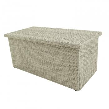 Baúl Para Exterior | Tamaño: 158x79x72 Cm | Aluminio Y Rattán Sintético Color Blanco Natural | Almacenamiento Para Jardín