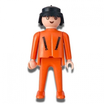 Playmobil Orange Man Officer Figure 1997 Loose
