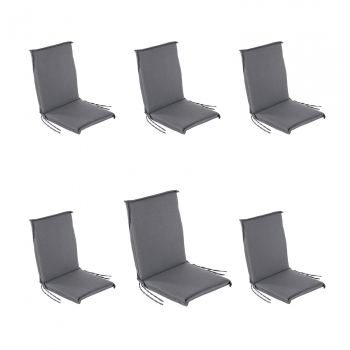 Pack 6 Cojines Para Sillón De Jardín Reclinable Estándar Olefin Color Gris, Tamaño 92x42x4 Cm, No Pierde Color, Desenfundable