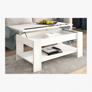 Mesa De Centro Elevable Color Blanco Con Revistero Mod-05