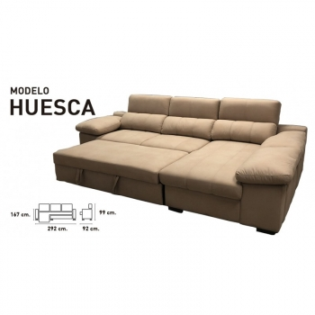 Sofa Chaiselongue Cama, 3 Plazas, 292 Cms, Color Chocolate O Marengo, Ref-03