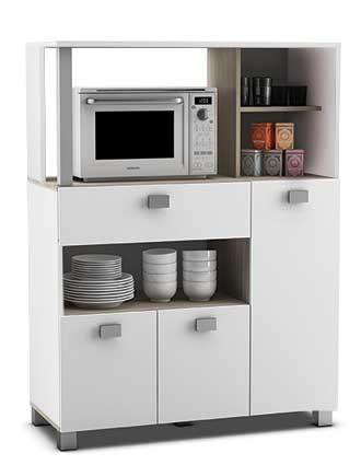 Mueble Auxiliar De Cocina En Color Blanco Con Un Cajon Y Varios  Compartimentos 132x99 Cm