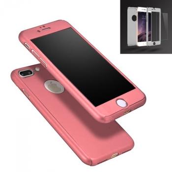 80526f79006 Donkeyphone® - Carcasa 360º Semirigida + Protector Cristal Templado Color  Rosa Para Iphone 7 Plus
