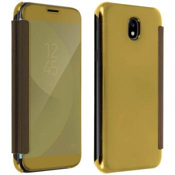 a91baab85ca Funda Libro Billetera Efecto Espejo Oro Samsung Galaxy J7 2017 Tapa  Translúcida