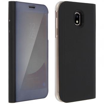 3411b9a0da4 Funda Efecto Espejo Samsung Galaxy J7 2017 Tapa Translúcida F. Soporte -  Negro