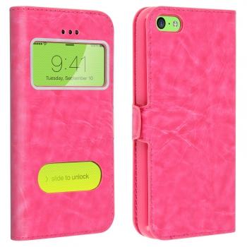 40a80aafcaa Funda Iphone 5c Doble Ventana Carcasa De Silicona - Fucsia