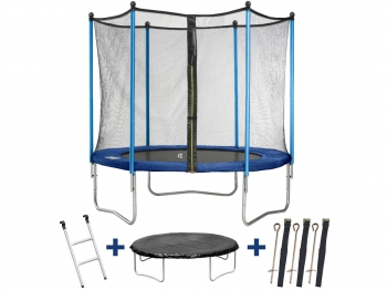 "Trampolin / Cama Elástica  "" Happy "" -  Ø 3.05 M - Con Malla + Escalera + Covertura+ Kit De Anclaje"