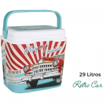 Nevera Portátil Para Playa Piscina Camping Acampada  Cooler 29l Retro Car