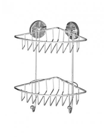 16 x 29.5 x 22.5 cm Acero Wenko Vacuum-Loc Rinconera Doble Plateado