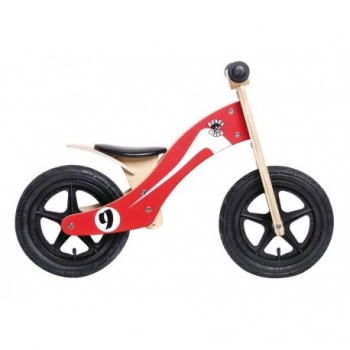 "Bici Aprendizaje Rebel Kidz Wood Air Madera, 12"", Retro Racer Rojo/blanco"