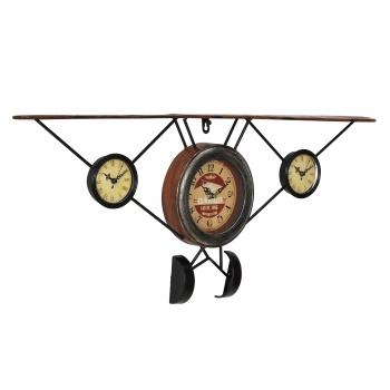 18e3d3fadd18  en.casa ® Reloj De Pared Frontal Avión Antiguo Con Pantalla Analógica -